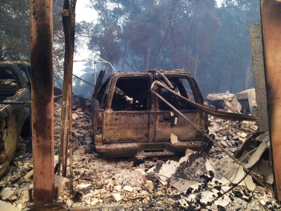 """Houses burned to the ground, cars completely burned, trees...just really a devastated landscape up there right now,"" Monterey County Sheriff Scott Miller said."