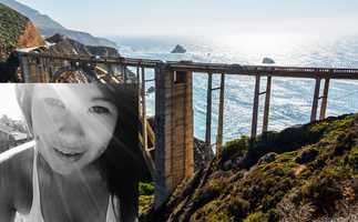 A young woman who died after a Honda she was traveling in hurtled 400 feet off the Bixby Bridge in Big Sur and landed on the beach below. Nina Shizumi Sakima, 20, of San Jose, was ejected from the blue Honda mid-air and she landed on rocks 270 feet below Highway 1 on the morning of Jan. 19. The college student was pronounced dead at the scene. Daniel Gowans, 25, of San Jose, was also ejected from the car.