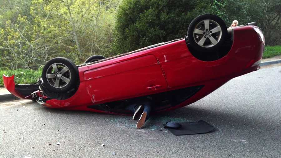 A young driver flipped his car in the Seascape neighborhood of Aptos on March 10, 2014. Witnesses said the driver and his friend managed to crawl out through the car's windows and escaped without injuries. The driver ran away and the passenger stayed at the scene, according to witnesses.