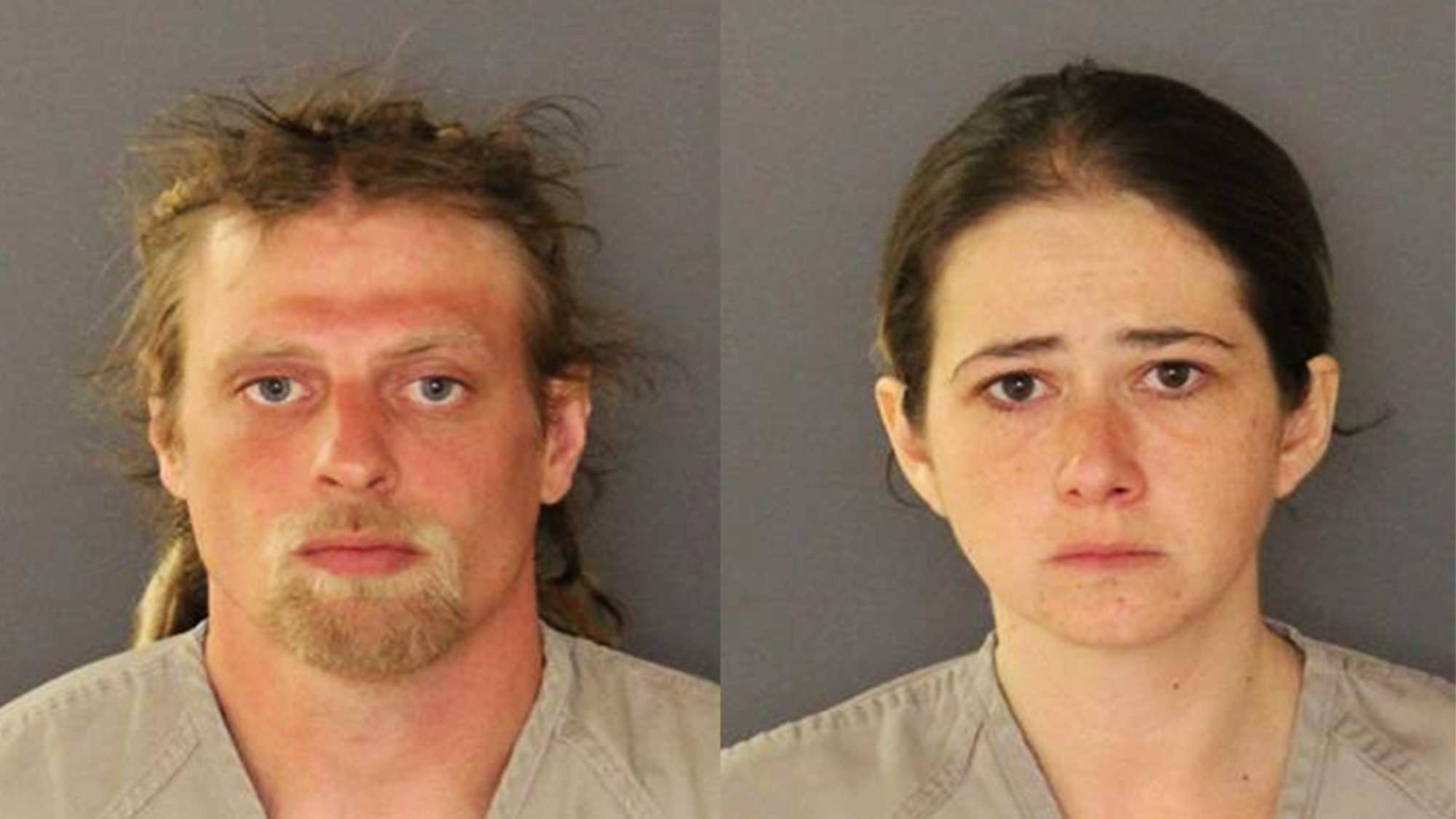 Brandon Kenney and his wife, Christina Kenney, are seen in mug shots after they were arrested.
