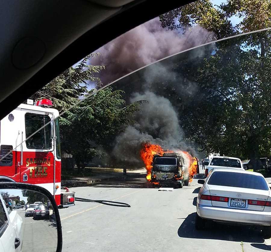 A van created a lot of black smoke in this Salinas neighborhood Monday, May 12.