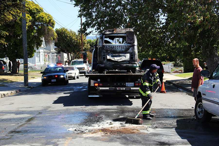 A driver said he jumped out of his Volkswagen van seconds before it was engulfed in flames on Soledad Street in Salinas. Firefighters suspect that the engine overheated. (May 12, 2014)
