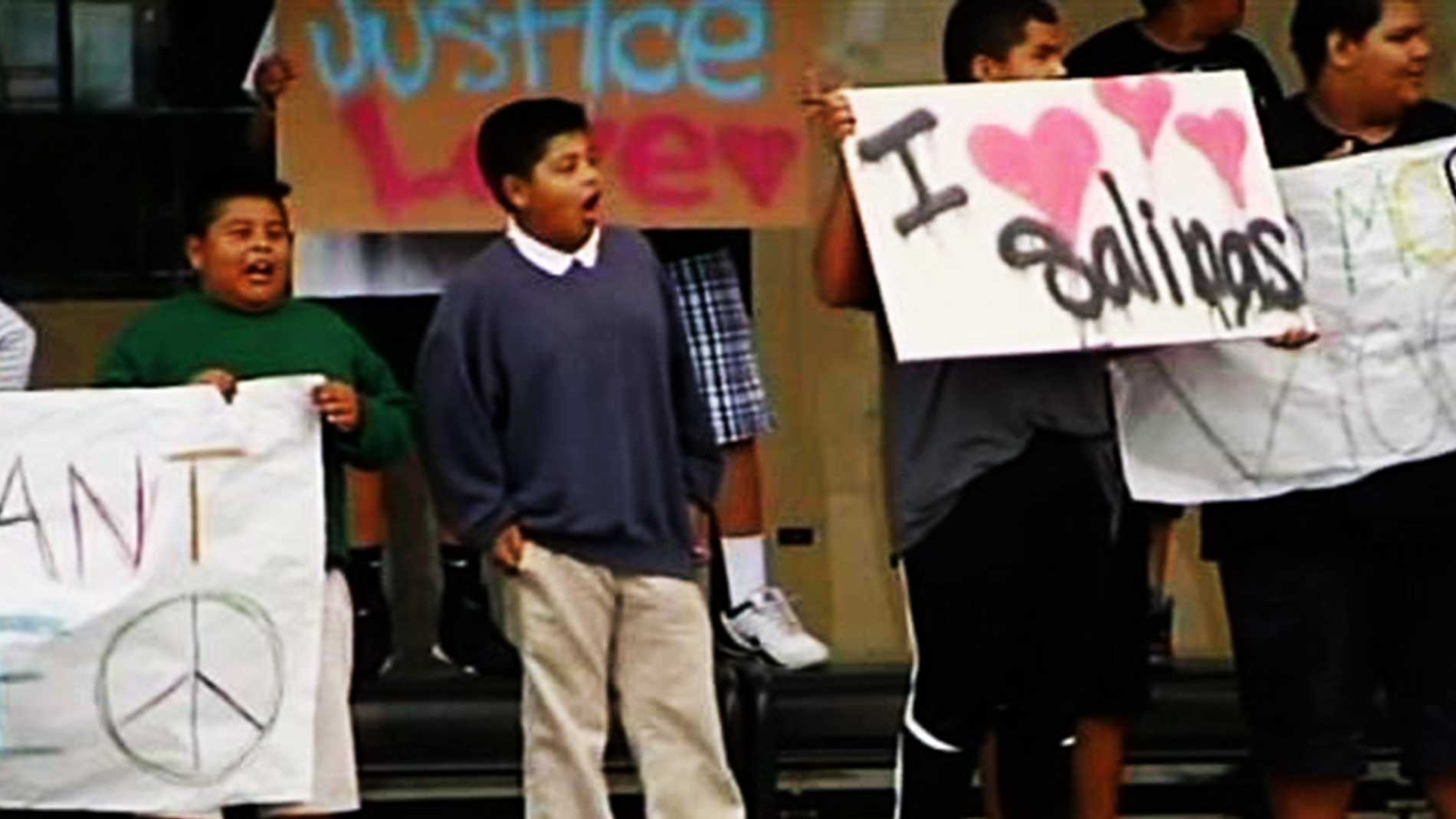 "MAY 22, 2014:  Several demonstrators calling for peace and unity have also been organized, including this one where kids held signs reading, ""I love Salinas."""