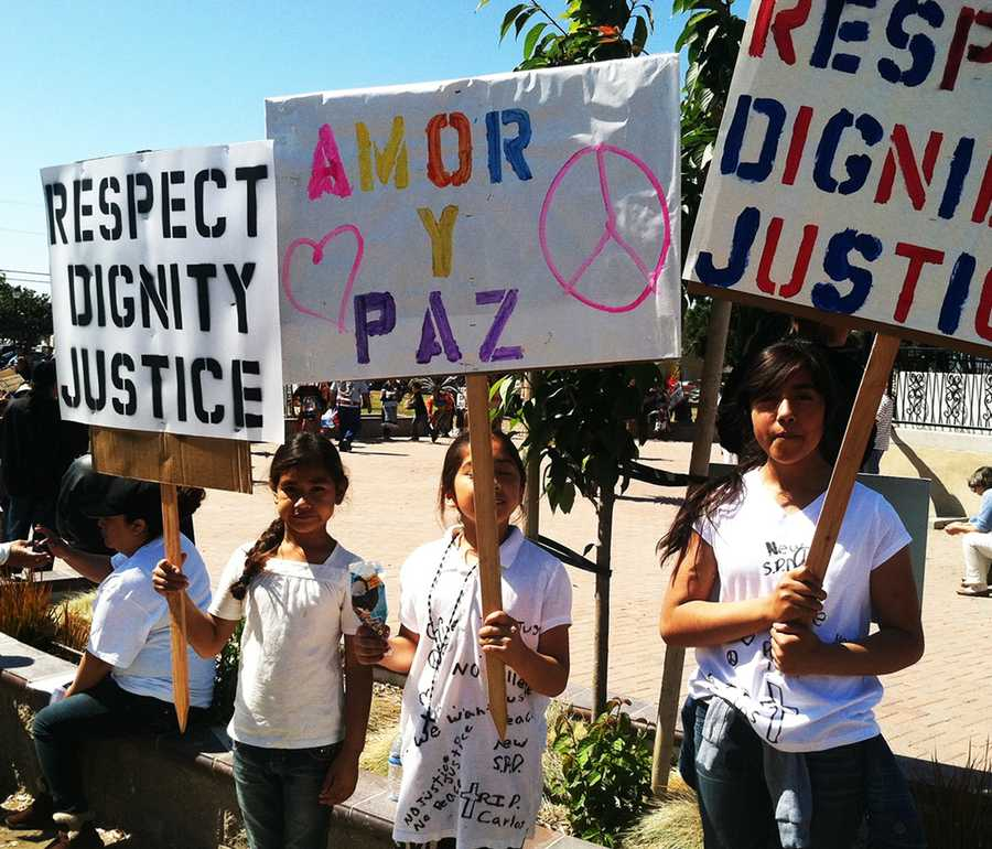 MAY 25, 2014: Hundreds marched for justice in East Salinas after Salinas police killed three armed Latino men: Angel Ruiz, Osman Hernandez, and Carlos Mejia.