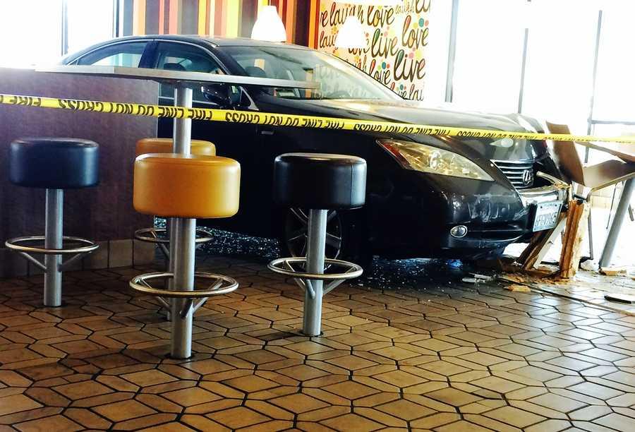 A car drove through a McDonald's restaurant in Salinas on June 1, 2014.
