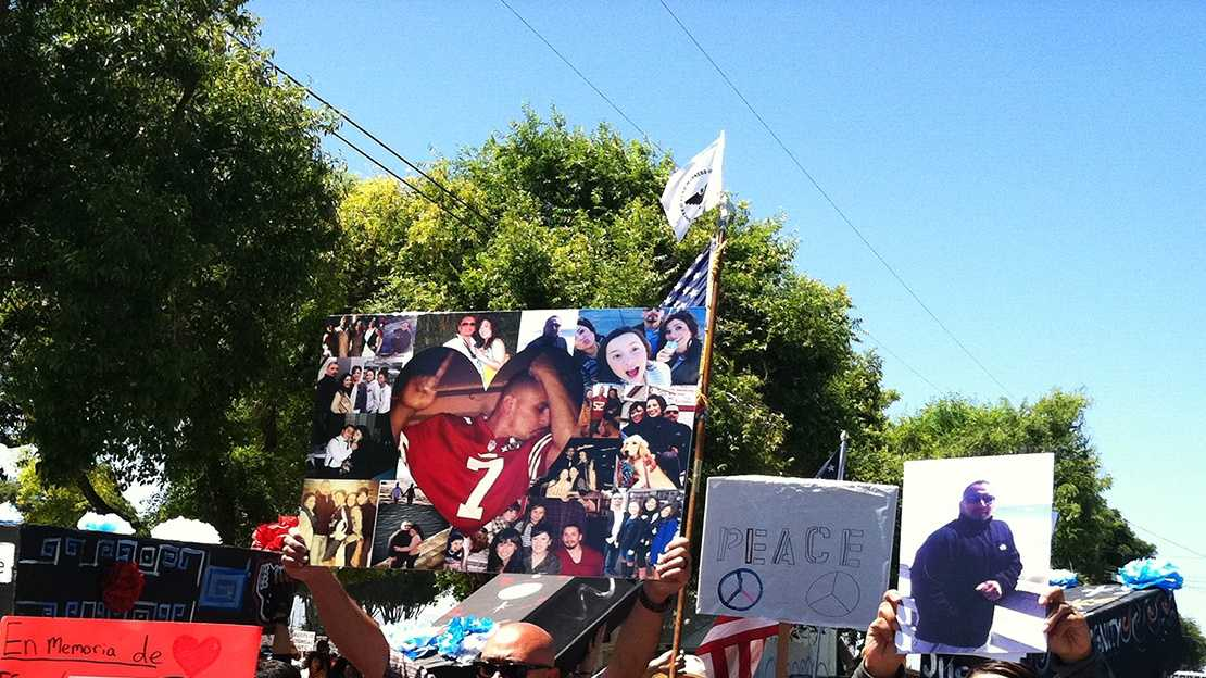 Protesters march in East Salinas on May 25 and demand justice after two officer-involved shootings.