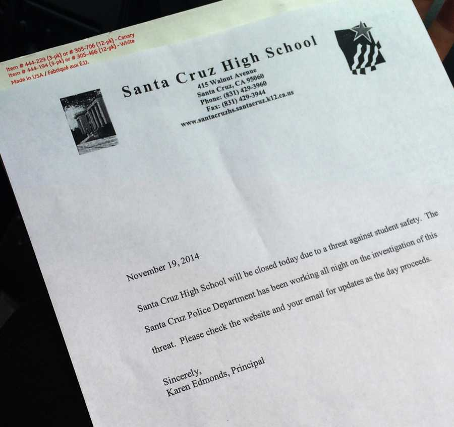 Students who were unaware of the threat and showed up at school were given this letter and sent home.