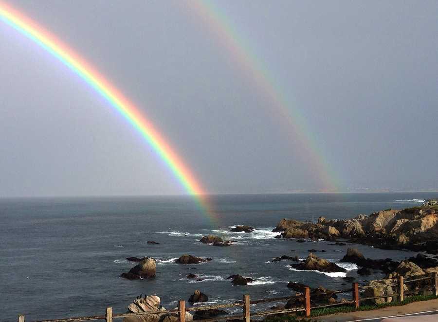Beautiful rainbows formed between rainstorms in Pacific Grove.