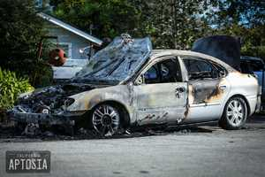More than 20 vehicles sustained heavy damage, including smashed-in windshields. At least three cars on Townsend Drive were torched so intensely that they melted.