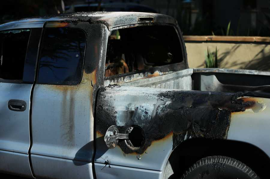 Deputies combed through charred cars to find road flares. Flares were shoved into some gas tanks, while others were drenched in highly flammable liquid with hand-held gas cans.