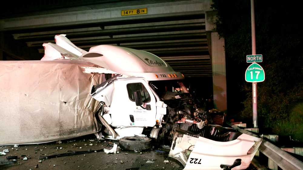 "This big-rig truck crashed on the Highway 1-Highway 17 fishhook in Santa Cruz Monday night. Witnesses told CHP officers that the truck was traveling southbound when it ""flew over the fishhook"" bridge and landed on the northbound lanes."
