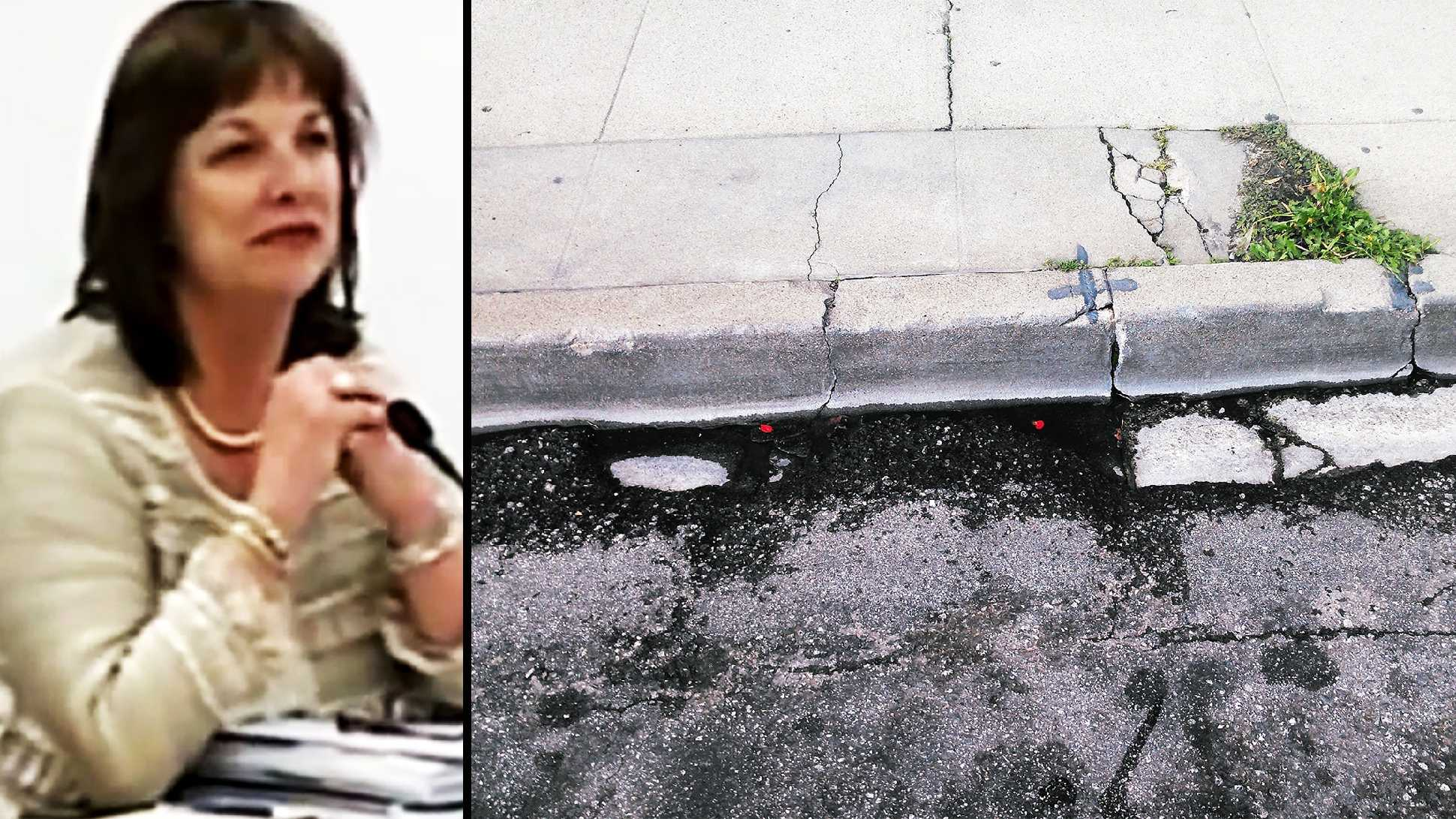 Marilyn Shepherd, left, and the curb in Monterey where she fell, right, are seen.