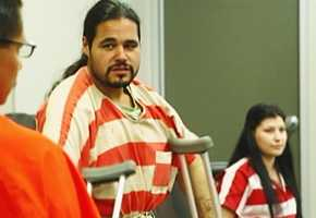 Velasco appeared in court Wednesday with the aid of crutches. His leg was fractured and he suffered a head laceration during the arrest.