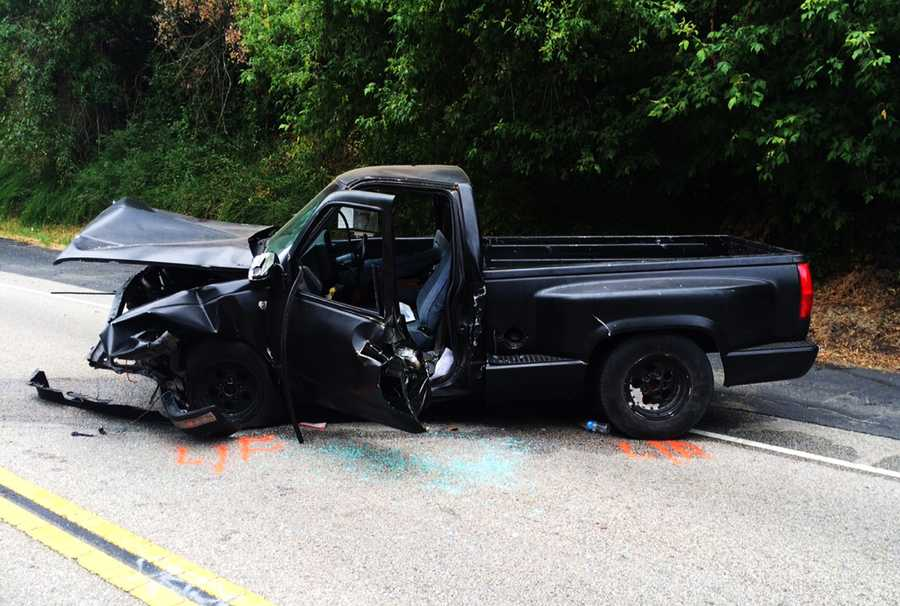 Three people were seriously injured in a two-car crash on East Zayante Road in Felton on July 22, 2015. Witnesses said the pickup truck was darting in and out of traffic, crossed into oncoming traffic, and hit a silver Saturn head-on.
