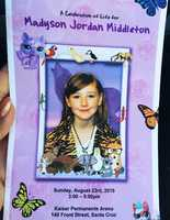 "Hundreds gathered at Kaiser Permanente Arena in Santa Cruz for Madyson ""Maddy"" Middleton's memorial."