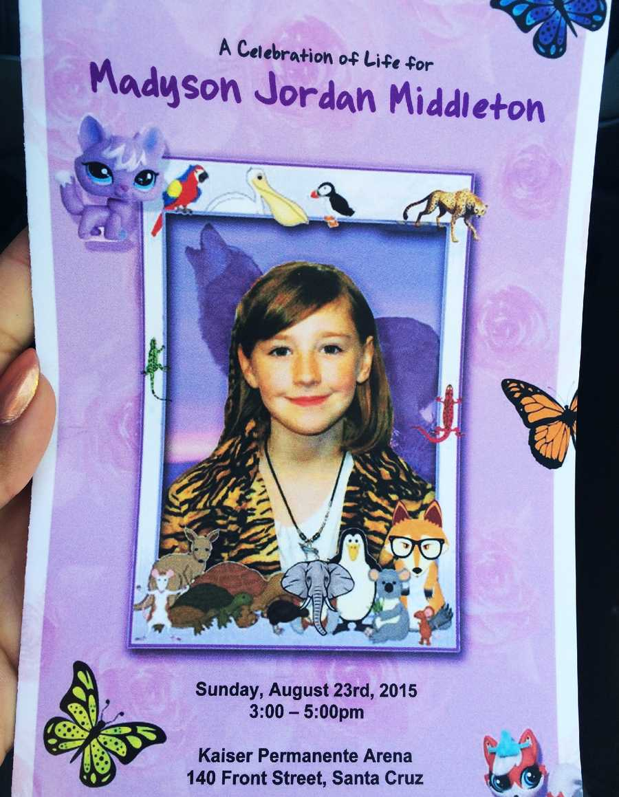 "Hundreds gathered at Kaiser Permanente Arena in Santa Cruz for Madyson ""Maddy"" Middleton's memorial."