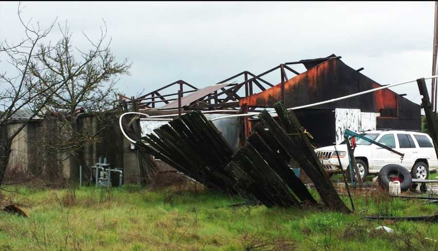 A tornado caused this damage outside Hollister. (Jan. 6, 2016)