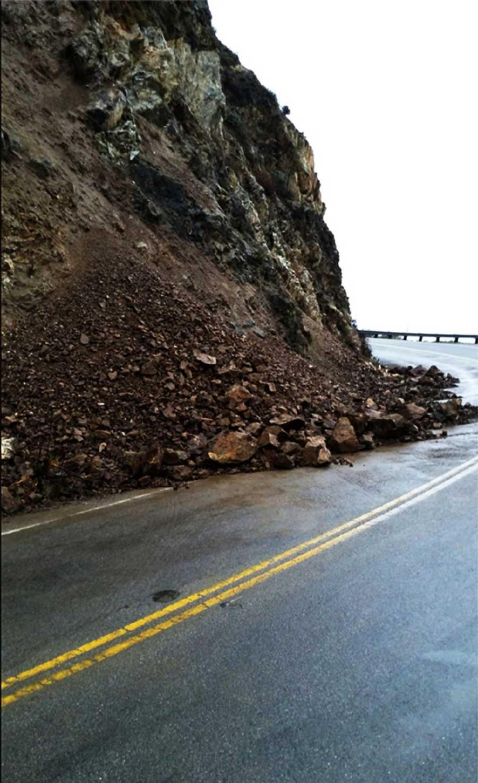 A rock slide blocked Highway 1 in Big Sur on Jan. 15.