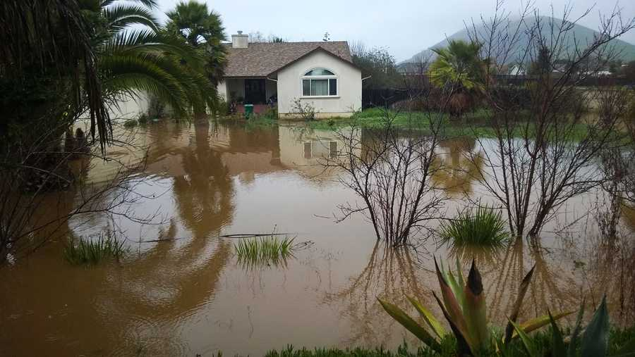 A house flooded along San Juan Grade Road.