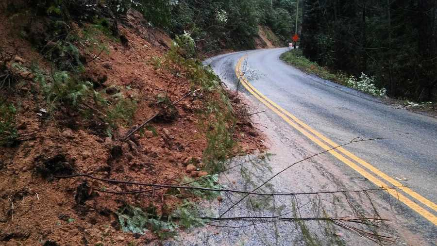 Three cars crashed on Highway 9 in Felton because of this rock and mud slide.  (Jan. 22, 2016)