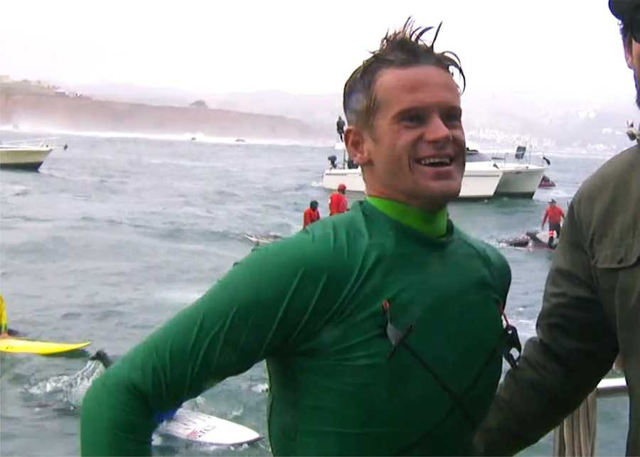 Nic Lamb of Santa Cruz was all smiles after winning the 2016 Titans of Mavericks.