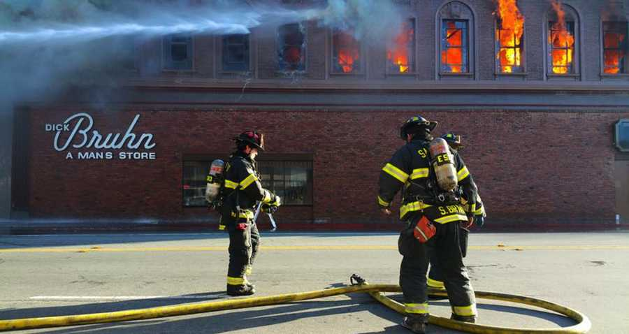 The five-alarm fire started at 2:45 p.m. Saturday on the 300 block of Main Street.