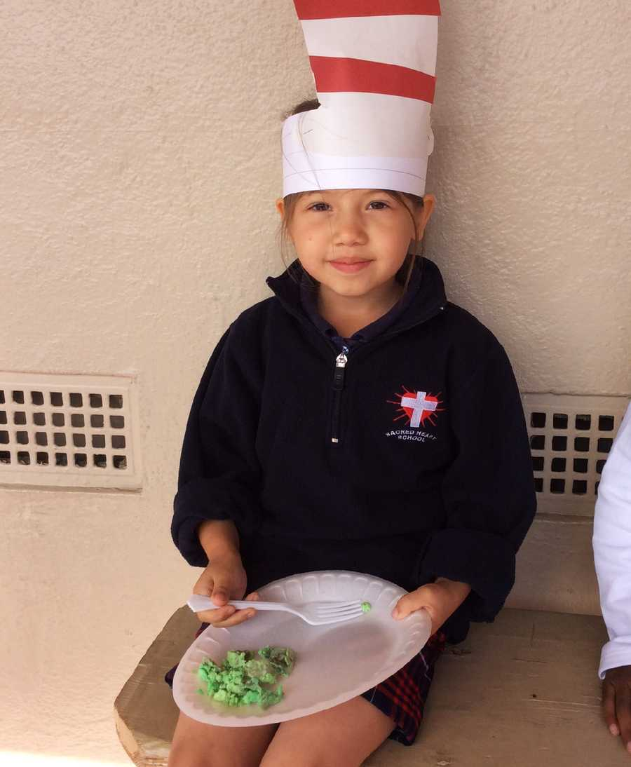 Classes made green eggs and ham. Students wore hats, crazy socks or dressed up like a character from Dr. Seuss' books.