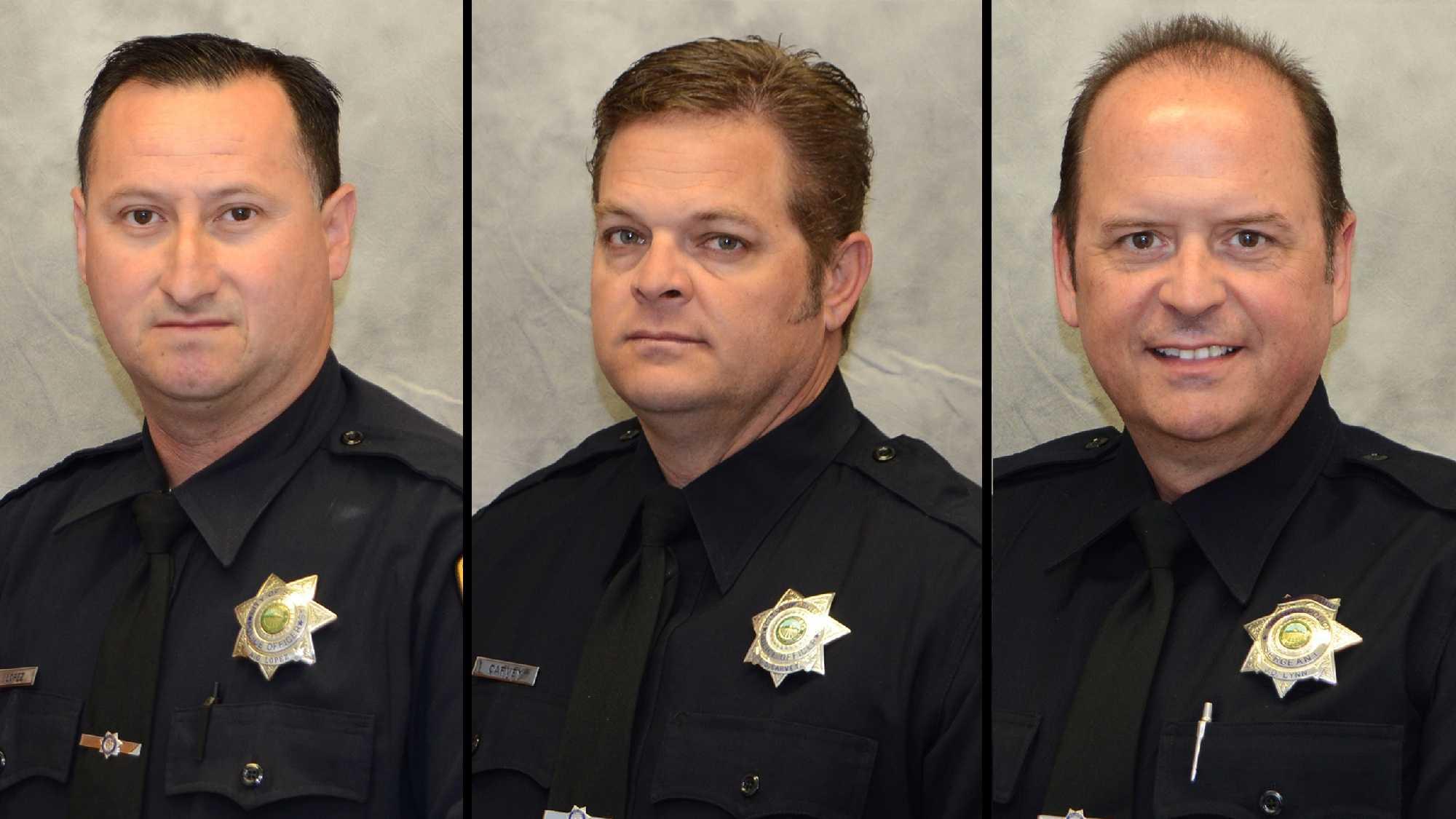 Salinas police Officer Adolfo Lopez, Officer Gabriel Carvey and Sgt. John Lynn