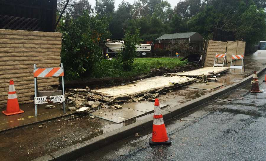 A wall collapsed in Gilroy.  (March 13, 2016)