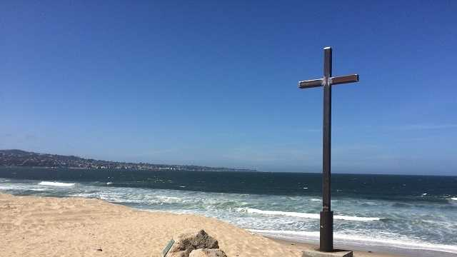 Metal cross replaces vandalized monument in Monterey