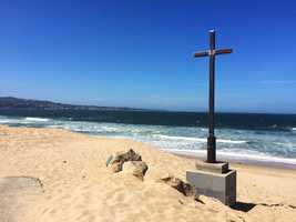 A large metal cross mysteriously appeared over Easter weekend at Del Monte Beach in Monterey.