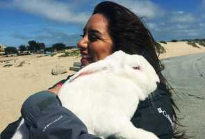 KSBW Reporter Bianca Beltran enjoyed a hug with the bunny on Easter.