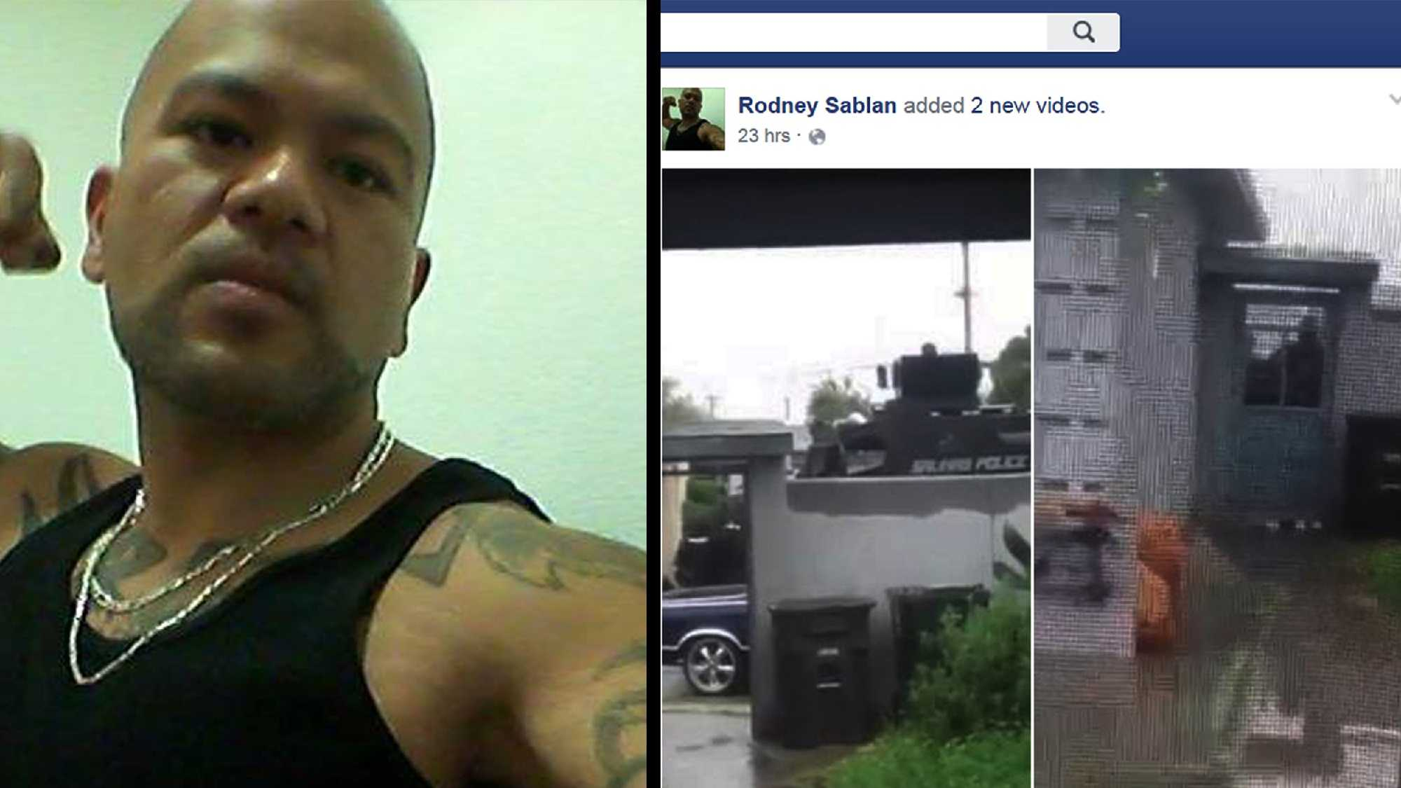 Rodney Sablan uploaded videos on Facebook, right, showing a Salinas police armored vehicle outside his house.