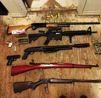 The Monterey County Sheriff's Office has been investigating a series of thefts and burglaries in the Toro Park area over the past month. Deputies served search warrants at houses in Salinas and Prunedale. At least 13 illegally possessed guns were seized, along with ammunition and methamphetamine.