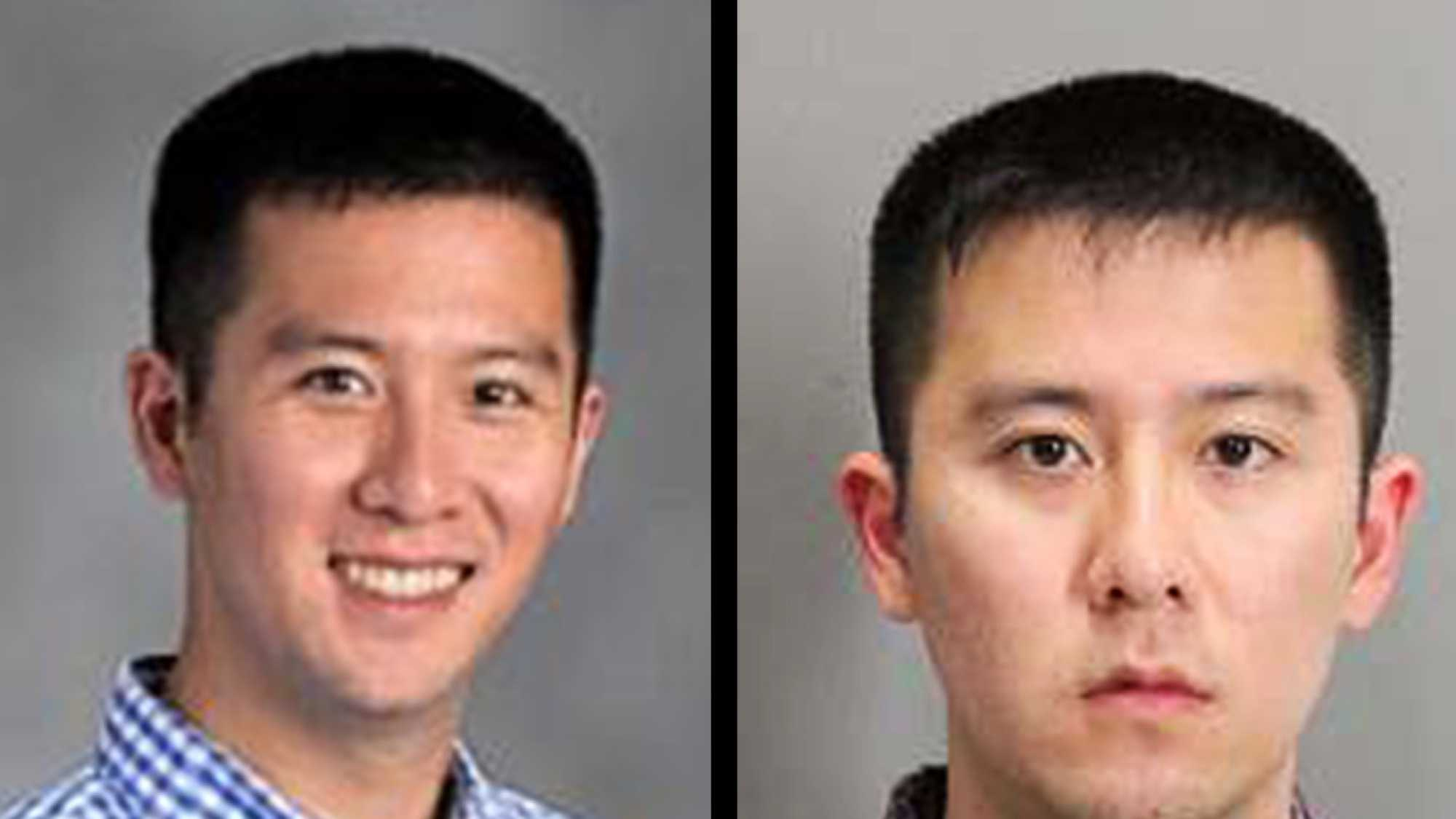 Douglas Le's Gilroy High School staff photo, left, and his mug shot, right.
