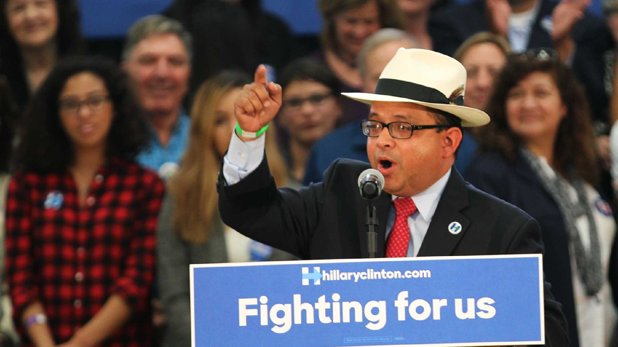 Luis Alejo introduced presidential candidate Hillary Clinton at a campaign rally in Salinas.