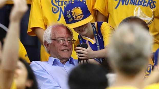 Bernie Sanders at the Golden State Warriors' game