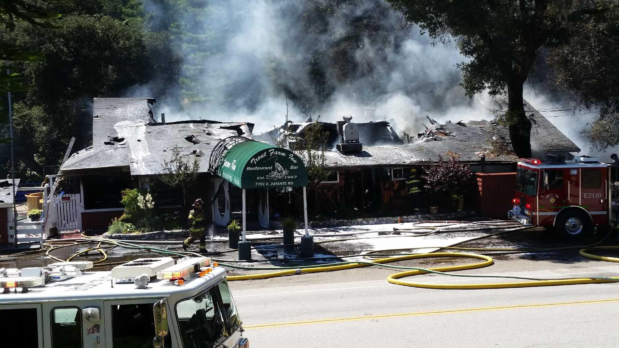 Felton firefighters battled a fire Sunday afternoon at the Trout Farm Inn.