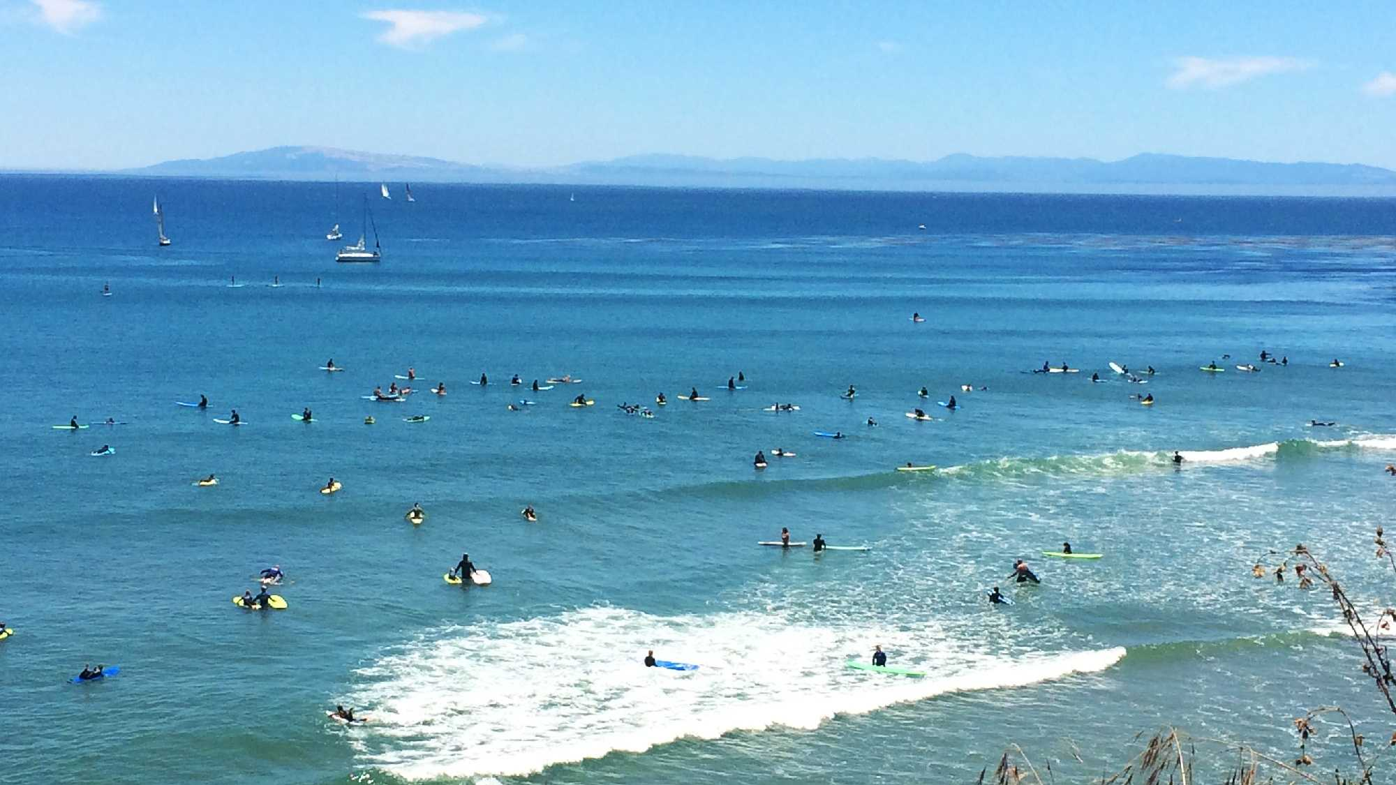 Cowell Beach was packed with surfers on Father's Day.