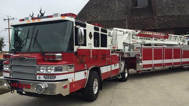 Salinas fire department unveils new fire ladder truck