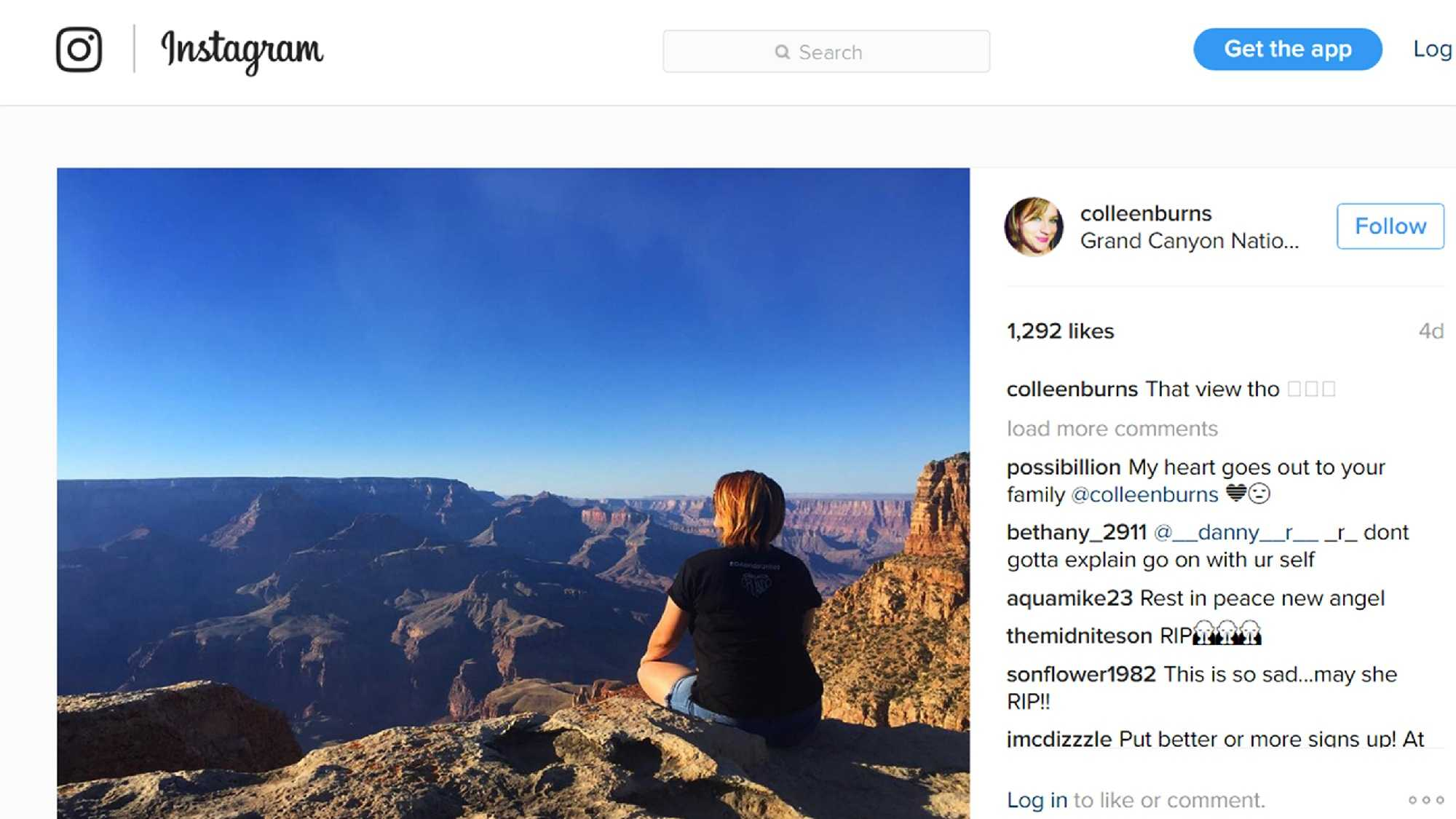 A few hours before she died, Colleen Burns uploaded this photo on Instagram of herself at the Grand Canyon.