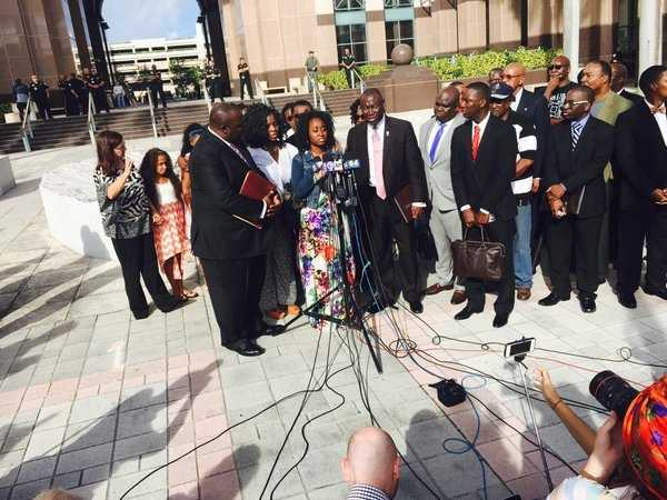 Oct. 22: Melissa Jones, sister of Corey Jones speaks at the family news conference.