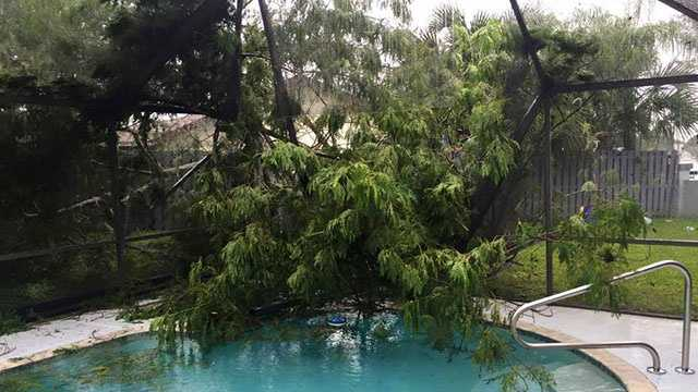 Damage from possible tornado in Delray Beach.