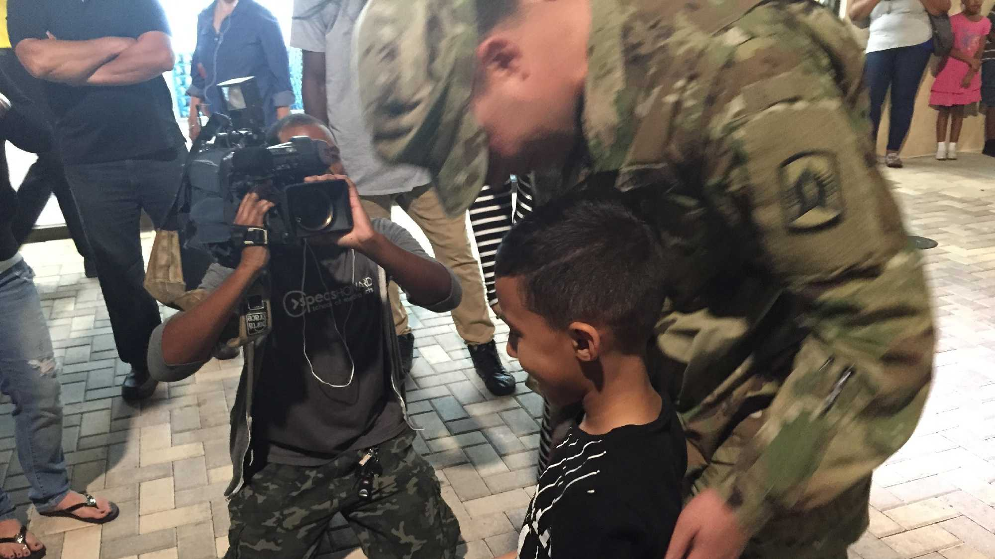Staff Sgt. Steven Perez of the Florida Army National Guard returned home to his wife, son and stepdaughter Thursday night.