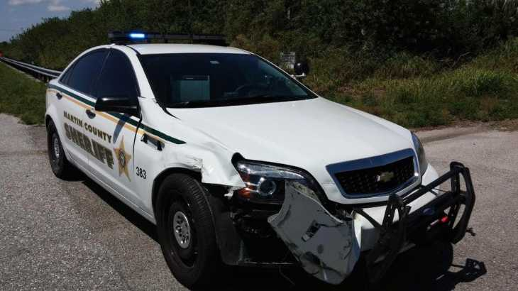 A Martin County Sheriff's Office cruiser was damaged after deputies were forced to run a pickup truck off the road Thursday after the driver reported not being able to stop the vehicle.
