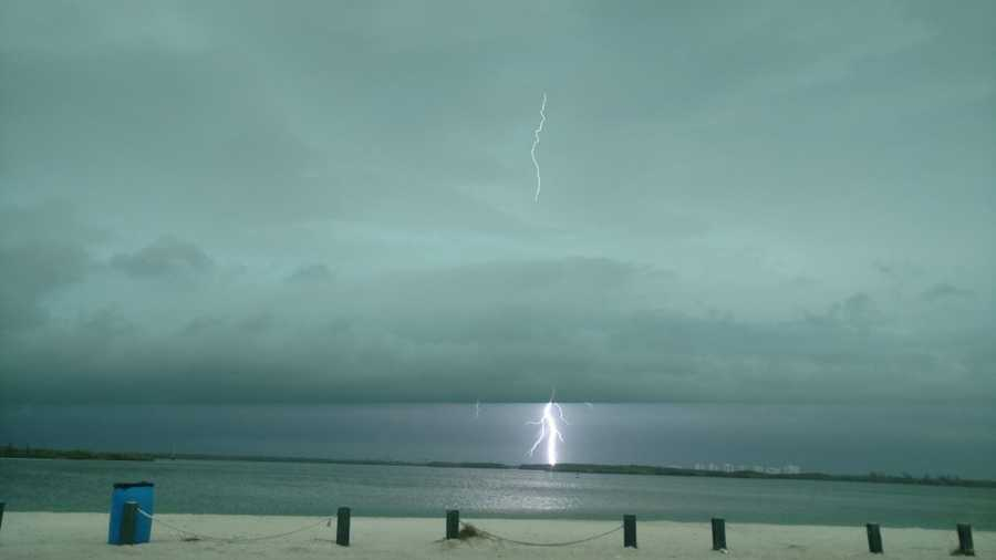 Lightning in Fort Pierce on on South Causeway Beach. Photo courtesy of Jackie Durham.