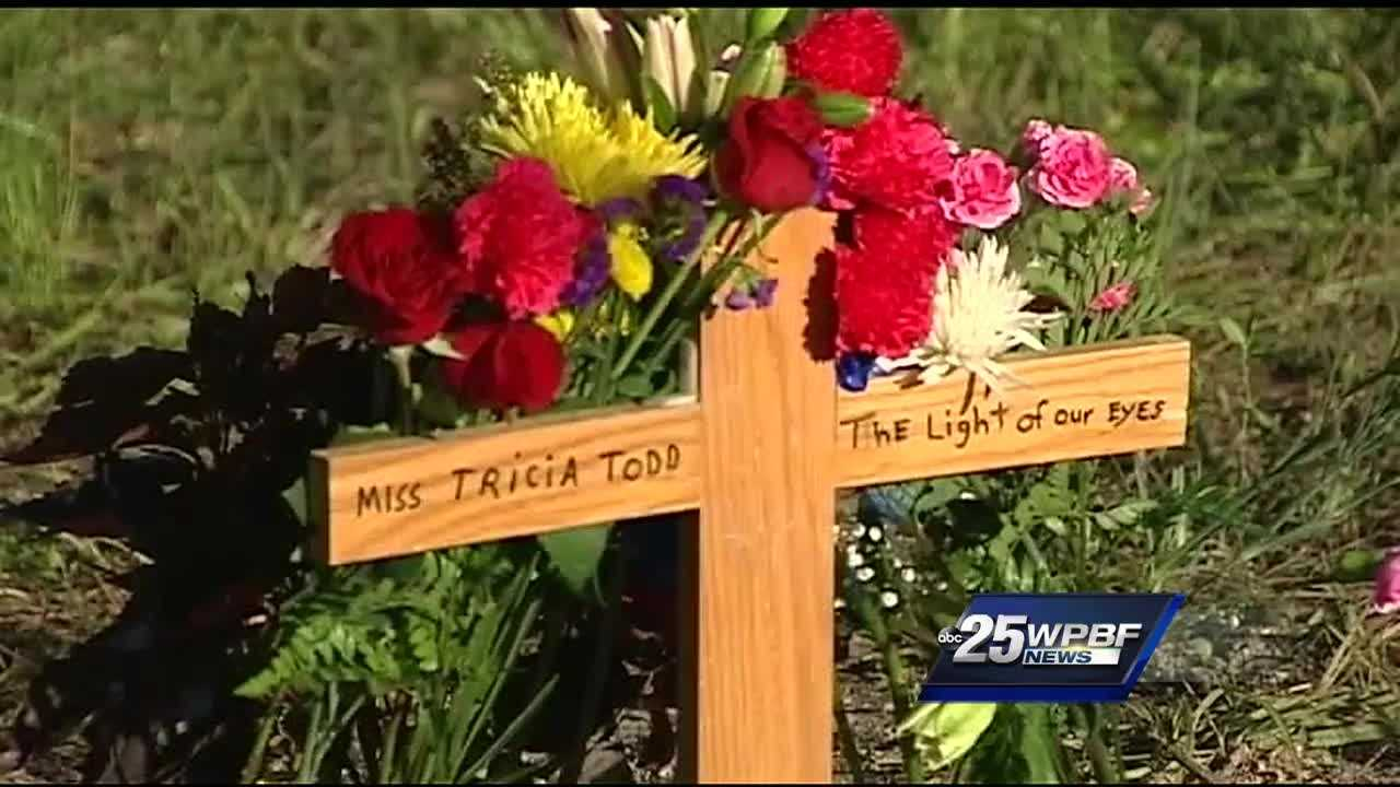 David Todd, the father of homicide victim Tricia Todd, went to the Hungryland Preserve Sunday and built a small memorial at the site where his daughter's partial remains were found Thursday.