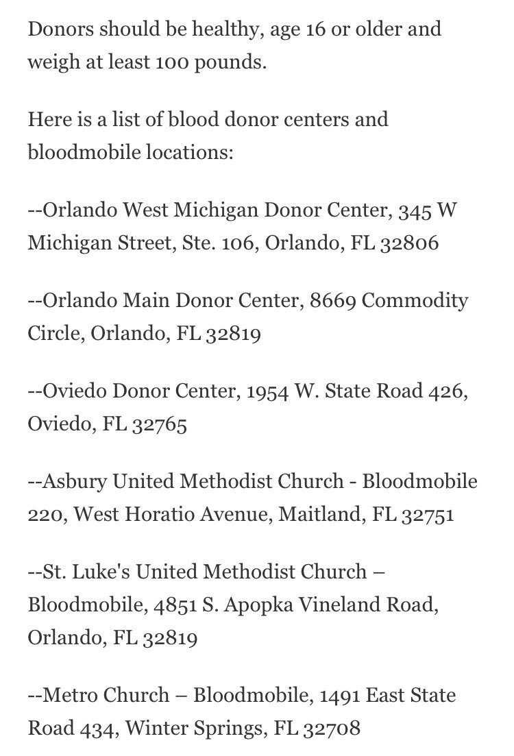 "Sanika Dange reporting from Orlando, Florida.""List of blood banks in orlando."""