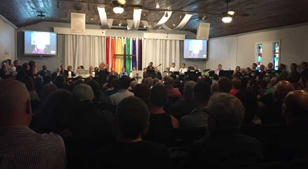 "Sanika Dange is reporting from Orlando, Florida.""Standing room ONLY at LGBT church, Joy MCC, in #Orlando after last night's mass shooting @WPBF25News #OrlandoStrong"""