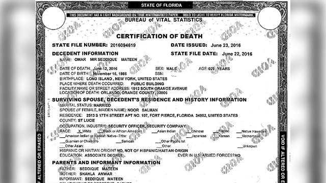Officials release death certificate of gunman in Orlando massacre